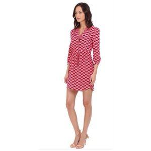 KATE SPADE Silk Blend Pinwheel Shirt Dress L
